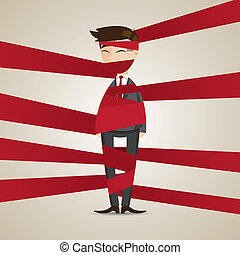 cartoon businessman wraping with red tape - illustration of...