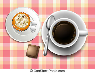 A topview of a table with a coffee, cookie and a creamer -...