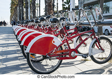 red Bicycle - red bicycles in Barcelona for walking