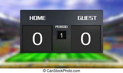 soccer match home win at period 2 - soccer match scoreboard...