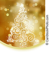 Christmas tree illustration on gold bokeh. EPS 8 - Christmas...