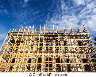 Scaffolding on a construction site of an old building in Istanbu