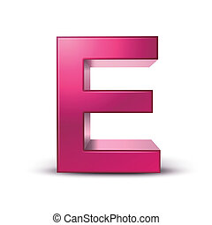 3d alphabet pink E - 3d pink letter E isolated white...