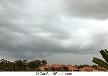 foreboding storm clouds over florida housing - A blanket of...