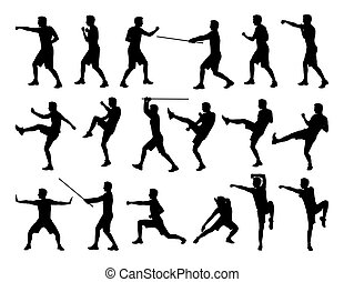 big set of men fighting silhouettes - big set of black...