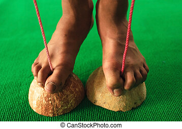 Shoe made of coconut shell for Thai boxer trainning