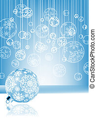 Blue christmas card with baubles . EPS 8