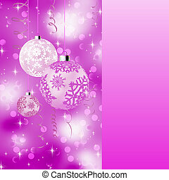 Pink card with christmas balls. EPS 8