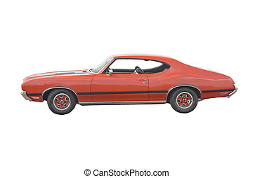 Classic red muscle Car - Classic American red muscle car on...