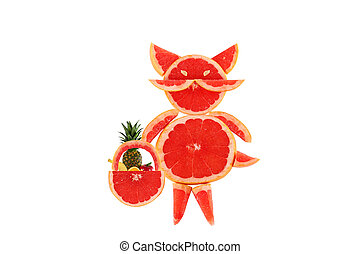 Healthy eating. Funny little cat made of the grapefruit...