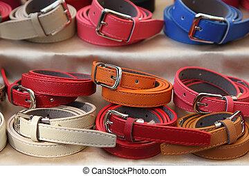 Multicolored women's belts