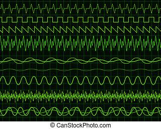 osciloscopio, ondas