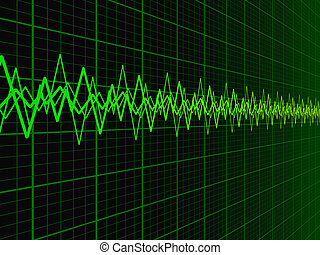 Sound Wave Background - Green soundwave over fading...