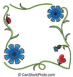 Cornflowers frame - Congratulatory frame of cornflowers...