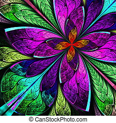 Beautiful multicolor fractal flower in stained glass window...
