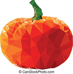 Polygonal Pumpkin Illustration - Geometrical Pumpkin vector...