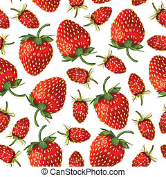 Wild strawberries and strawberries pattern seamless -...