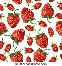 Wild strawberries and strawberries pattern seamless -...