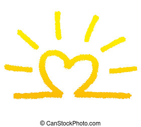 sunny - sun in the shape of a heart as funny symbol