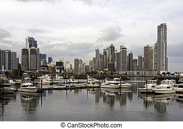 Panama City skyline, Panama - Panama City skyline and...