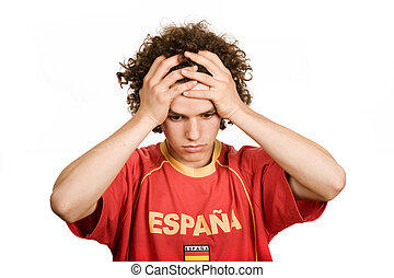 sadness - spanish young man supporter, isolated on white