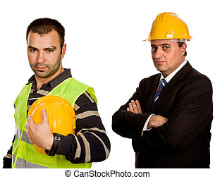 workers - two young workers in a white background
