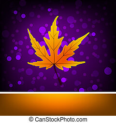 Card with autumn maple leaf template. EPS 8