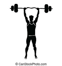 man lifts weights vector