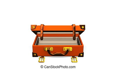 Classical Luggage Front. 3D render Animation. Isolated on...