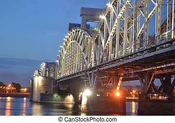 Finland Railway Bridge at night, StPetersburg, Russia