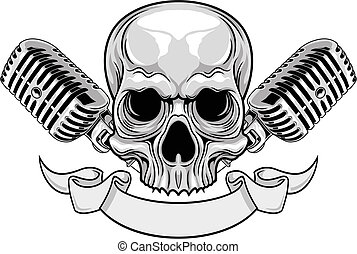 skull and microphones - illustration of gray skull with...