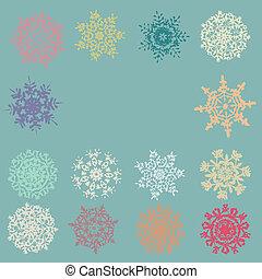 Cute Retro Snowflakes. EPS 8