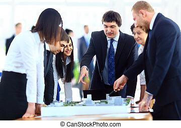 reunión, en, Arquitectos, oficina