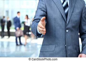 homem negócios, estender, mão, abanar