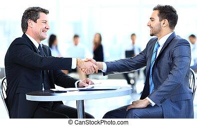 negócio, colegas, sentando, tabela, durante,...