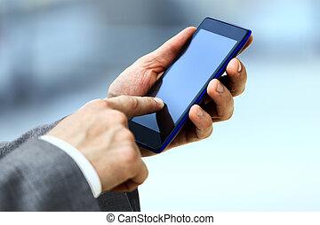 homme, usage, mobile, téléphone