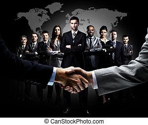 apretón de manos, aislado, empresa / negocio, Plano...