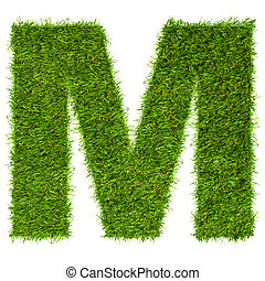 Letter M made of green grass isolated on white