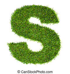 Letter S made of green grass isolated on white