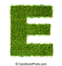 Letter E made of green grass isolated on white