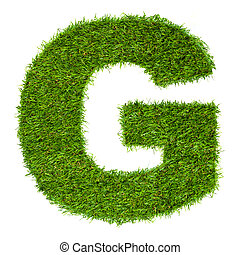 Letter G made of green grass isolated on white