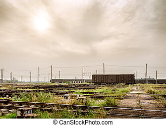Freight train - Dusk, stationary freight train and...