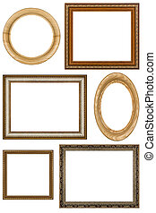 Set of 6 vintage picture frames, isolated on white...