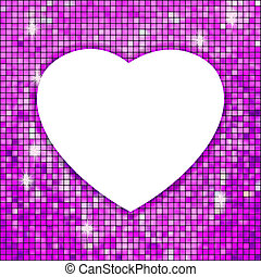 Purple frame in the shape of heart. EPS 8