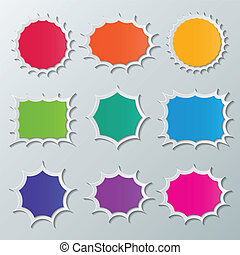 starburst speech bubbles - set of blank colorful paper...