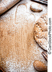 Christmas and holiday baking background, flour, bakeware,...