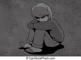 abused child, unhappy children Illustration shows boy or...