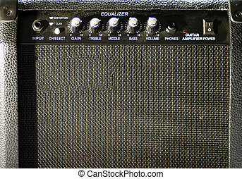 Old guitar amp - An old guitar black amp, frontal view
