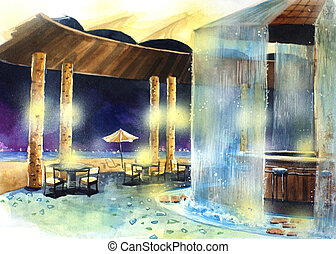 beach bar at night water color illustration.Water color...