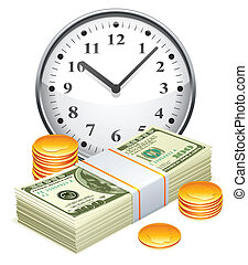 Time is money concept - Big clock, pack of dollars and...